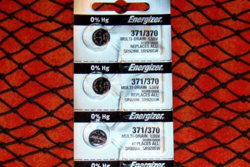 3 Pieces 371/370  Energizer Watch Batteries  FREE Shipping