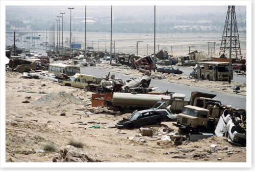 Demolished Vehicles Highway 80 Operation Desert Storm 8x12 Silver Halide PhotoReproductions - 156449