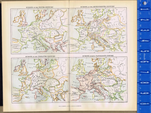 EUROPE Through the Centuries - 1893 Map Print - Johnston - Chambers
