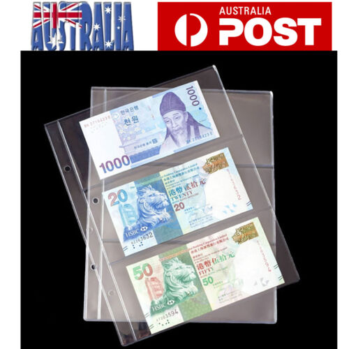 10X Paper Money Banknote Holders Album 3 Pockets Pages Sleeves Storage Note OZ