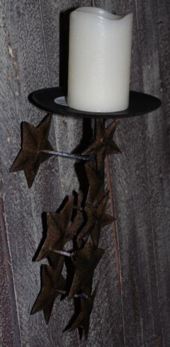 Primitive Country Rusty Brown Falling Stars Pillar Candleholder Sconce New