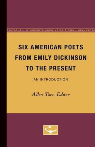 Six American Poets from Emily Dickinson to the Present Paperback Book Free Shipp