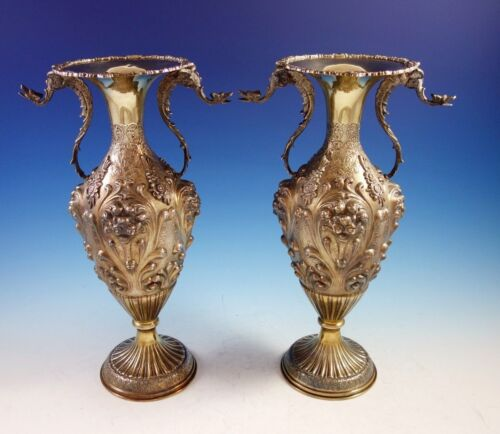Camusso Peruvian Sterling Silver Vases Pair with Applied Winged Griffins (#2914)