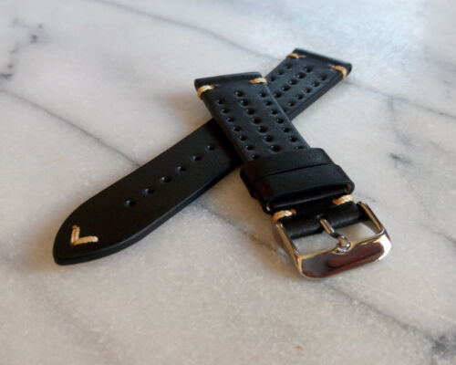 Black Genuine Leather Racing Watch Strap,Vintage Leather Watch Band