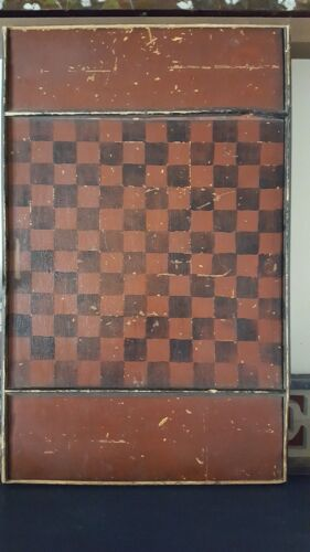 Antique Primitive Checkerboard With Great Red And Black Paint Game Board