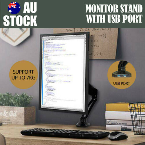 Single Arm Monitor Stand Two USB HD LED LCD TV Holder Spring Desk Mount