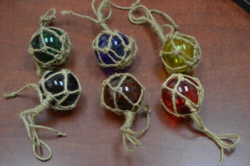 """3 PCS REPRODUCTION GLASS FLOAT BALL WITH FISHING NET 2"""" **PICK YOUR COLORS**"""