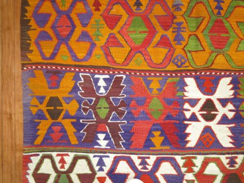 Vintage Colorful Turkish Anatolian Oushak Kilim Rug Size 4'1''x6'3''
