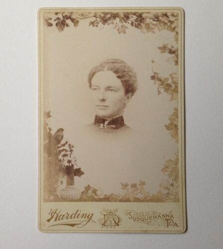 Antique Photo Cabinet Card Susquehanna PA Harding Woman with Stickpin Collar