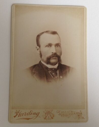 Antique Photo Cabinet Card Susquehanna PA Harding Man with Scruffy Mustache