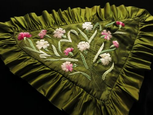 Gorgeous Antique Silk Pillow Sham Triangle Shape Hand Embroidery Dianthus