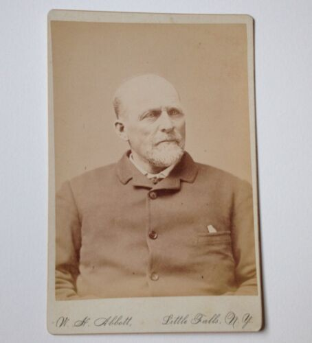 Cabinet Card Photo Little Falls NY W H Abbott Antique Photograph Serious Man