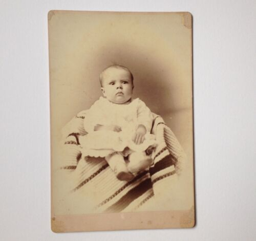 Cabinet Card Photo Oneida NY Richardson Antique Photograph Baby on Blanket