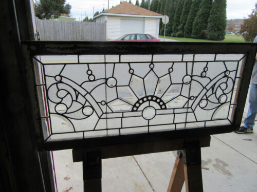 ~ ANTIQUE STAINED BEVELED JEWELED GLASS TRANSOM WINDOW  ~ 44 X 20 ~  SALVAGE