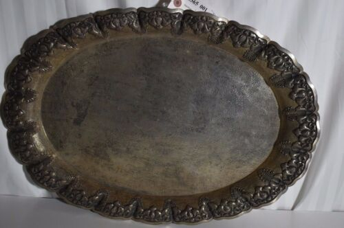 Antique huge engraved silver platter marked 800 on the bottom see photos
