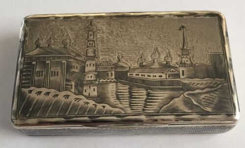 ANTIQUE RUSSIAN SOLID SILVER & NIELLO SNUFF BOX  1889