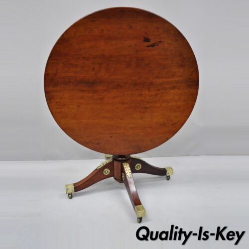 19th Century French Empire Style Round Mahogany Tilt Top Table w/ Bronze Ormolu