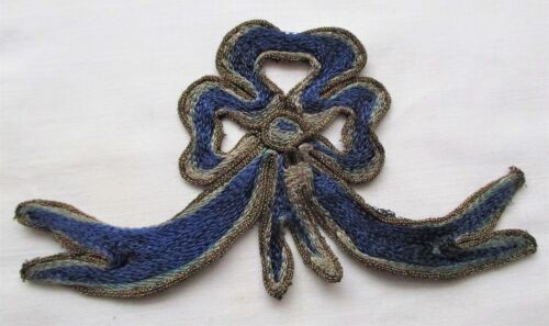 Vintage Ribbon Applique Navy & Light Blue w/Gold Metallic Mesh Cording  French