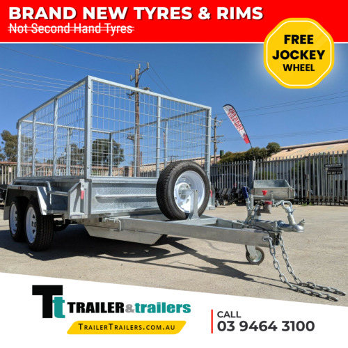 8x5 GALVANISED TANDEM TRAILER 3FT CAGE NEW WHEELS AND TYRES - JOCKEY WHEEL