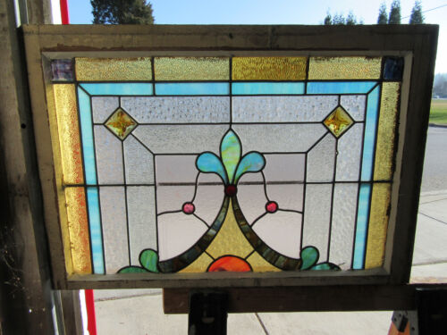 ~ ANTIQUE AMERICAN STAINED GLASS WINDOW ~ 34 x 23 ~ ARCHITECTURAL SALVAGE