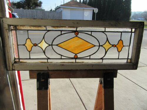 ~ ANTIQUE STAINED GLASS TRANSOM WINDOW ~ 43 x 16 ~ ARCHITECTURAL SALVAGE
