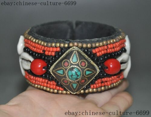 Old Tibetan Buddhism Hand-made silk inlay Turquoise shell bracelet