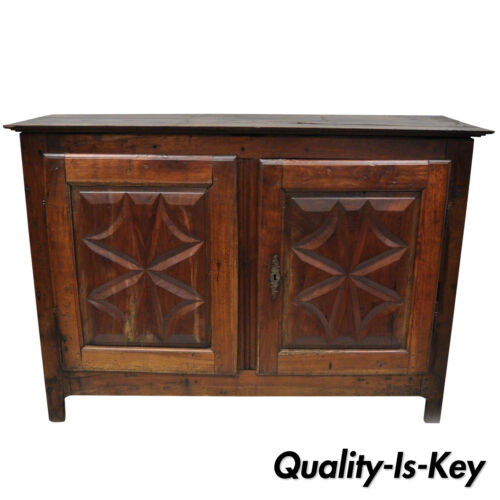 17th Century Carved Walnut Italian Baroque Two Door Credenza Cabinet Buffet