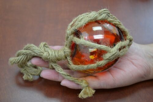 """RED REPRODUCTION BLOWN GLASS FLOAT FISHING BUOY BALL WITH FISHNET 3"""" F-6"""