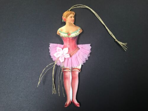 Paper doll ballerina ornaments, Valentine gift tag, vintage feather tree item# 6
