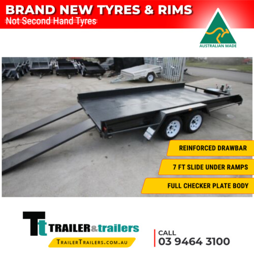 "16x6'6 TANDEM AXLE CAR CARRIER BOX TRAILER - 10"" SIDES - NEW WHEELS"