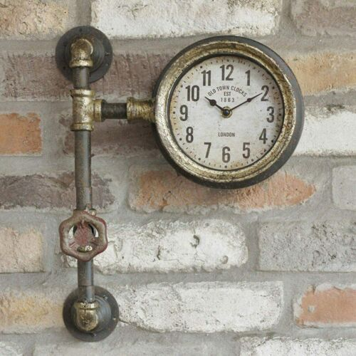 Metal Industrial Antique Rustic Warehouse Factory Station Pipe Wall Art Clock