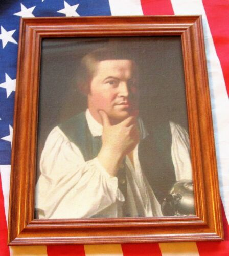 Framed Painting on canvas, Portrait of Paul Revere, Great American Patriot