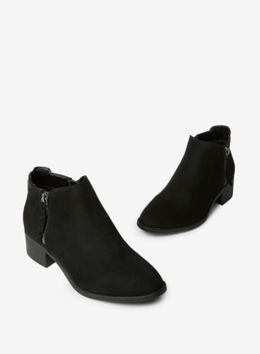 Ex Dorothy Perkins WIDE FIT Black Faux Suede Ankle Boots Size 3 &  4  RRP £28