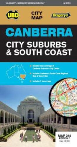 Canberra City Suburbs & South Coast Map 248 7th ed by UBD Gregory's Free Shippin