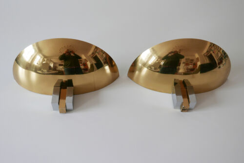 2  x  Mid Century WALL LAMPS / SCONCES Art Deco Design by ART-LINE 1980s GERMANY