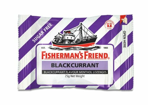 Fishermans Friend - Strong Blackcurrant and Menthol Sugar Free (12 x 25g bags)