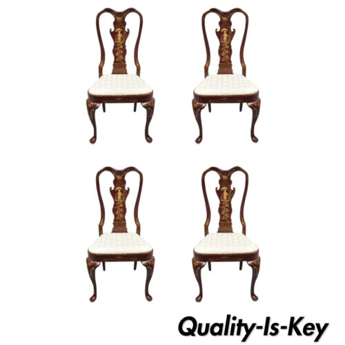 4 Vintage Hickory Mfg Queen Anne Georgian Style Japanned Red Dining Side Chairs