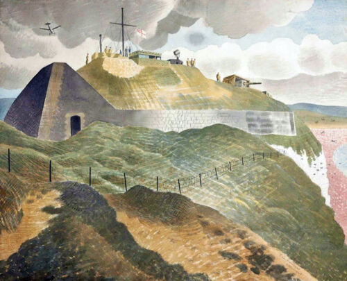Coastal Defenses by Eric Ravilious - Guns Battery Soldiers Cliff 8x10 Print 2439