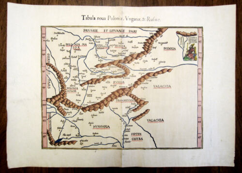 1541 Walseemuller/Ptolemy/Fries Woodcut Map of Poland Hungary Lithuania Russia