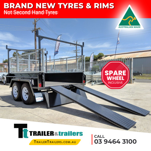 8x5 TANDEM AXLE HEAVY DUTY ALL-PURPOSE TRAILER +CAGE +RACKS +RAMPS +SPARE WHEEL