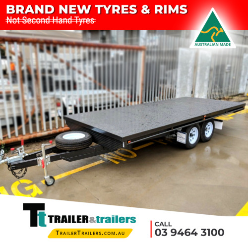 16X8 TANDEM AXLE HEAVY DUTY FLAT TOP/FLATBED/TABLE TOP TRAILER + SPARE WHEEL