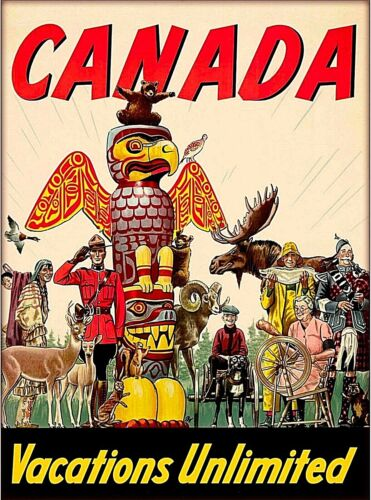 Canada Vacations Unlimited Vintage Travel Decor Advertisement Art Poster Print
