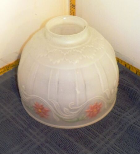 "Vintage Reverse Hand-painted Frosted Glass Bowl Light Shade, 5"" Tall by 6"" Wide"
