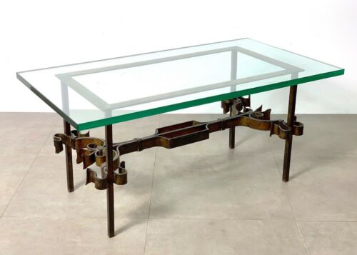 Vtg Mid Century Spanish Gilded Iron Scroll Glass Gothic Brutalist Coffee Table