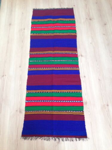 Antique Bulgarian 100% Wool Handcrafted Rug- 60 years old (1960s)