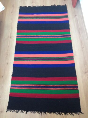 0Antique Bulgarian 100% Wool Handcrafted Rug- 60 years old (1960s)