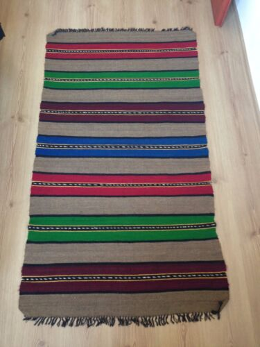 AntiqueBulgarian 100% Wool Handcrafted Rug - 60 years old (1960s)