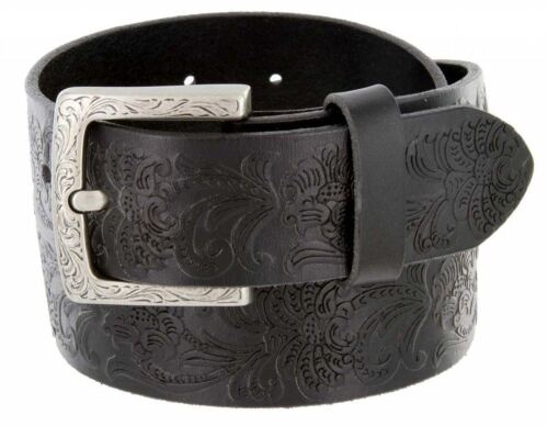 "Women's One Piece Genuine Leather Embossed Floral Belt 1-1/2"" Wide Black Brown"