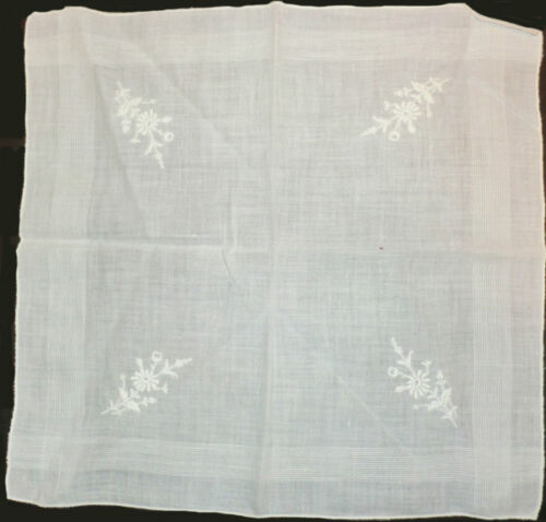 """Vintage White on White Embroidery Hanky Linen 11"""" X 11"""" Flowers Older"""