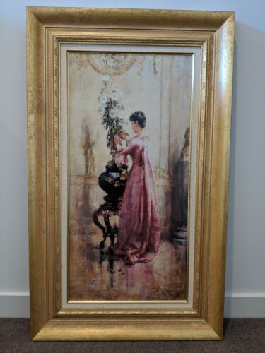 Print 'Woman With Chrysanthemums' Beautifully framed renowned print. As new.